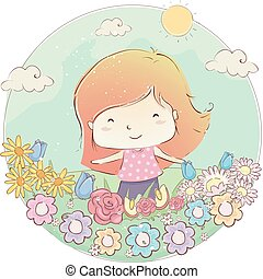 Kid Girl Outdoor Flower Field Illustration