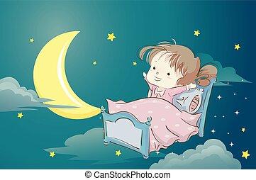 Kid Girl Pajama Bed Dream