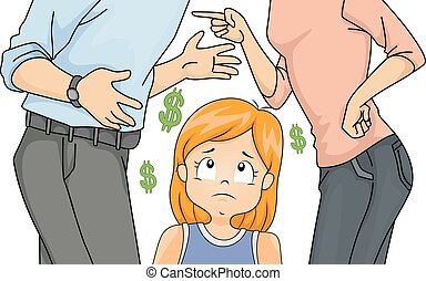 Kid Girl Parents Money Fight Illustration