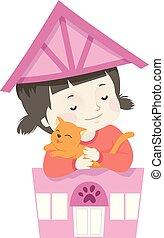Kid Girl Pet Cat Shop Illustration