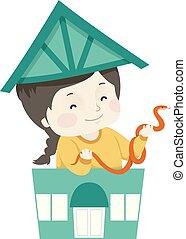 Kid Girl Pet Shop Snake Illustration