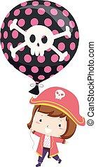 Kid Girl Pirate Balloon Illustration
