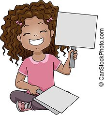 Illustration of a Grinning Girl Raising a Placard