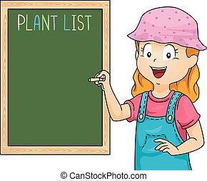 Kid Girl Plant List Board