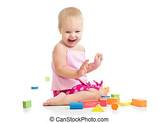 kid girl playing with toys