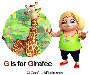 Kid girl pointing Girafee