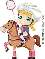 Kid Girl Polocrosse Illustration