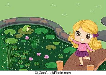 Kid Girl Pond Play Frog Illustration