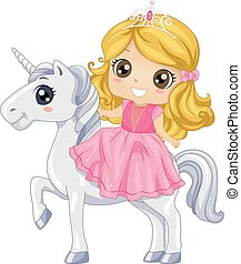 Kid Girl Princess Unicorn - Colorful Illustration of a Cute...