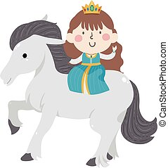 Kid Girl Princess White Horse Illustration
