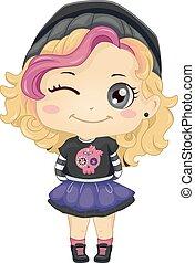 Kid Girl Punk Fashion - Illustration of a Little Girl...