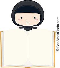 Kid Girl Qatar Open Book Illustration