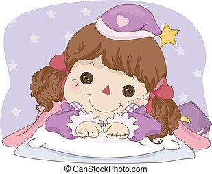 Kid Girl Rag Doll Sleep Time