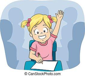 Kid Girl Raise Hand Class