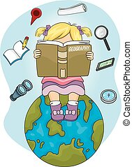 Kid Girl Read Geography Book Earth - Illustration of a...