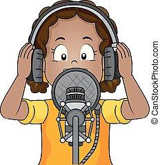 Kid Girl Recording Illustration