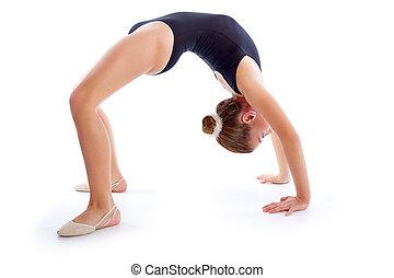 Kid girl rhythmic gymnastics exercises on white