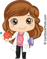 Kid Girl Science Physics Atom - Illustration of a Cute...