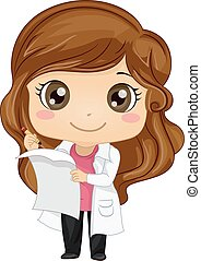 Kid Girl Scientist Formula - Illustration of a Cute Little...