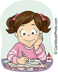 Kid Girl Scrapbook Pictures Illustration