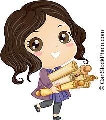 Kid Girl Scrolls Illustration
