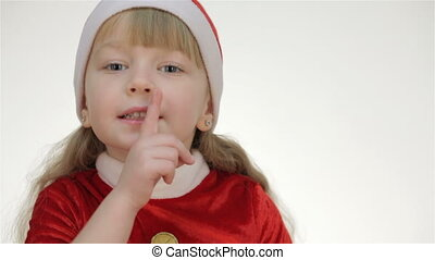Kid girl showing shh