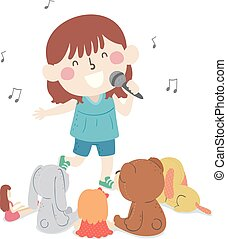 Kid Girl Sing Toy Audience Illustration
