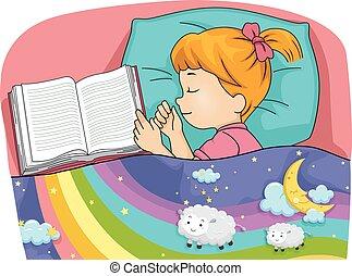 Kid Girl Sleep Book Bed Dreaming