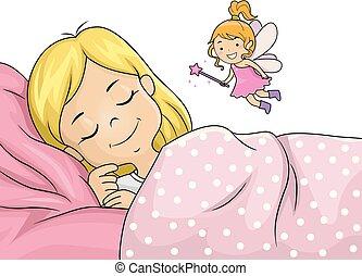 Kid Girl Sleep Tooth Fairy Illustration