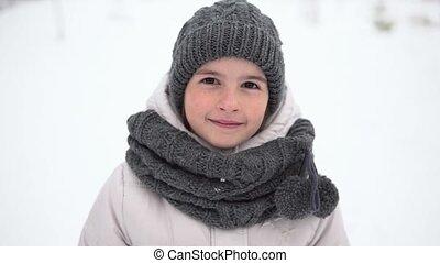 Kid Girl Smiling Winter Portrait