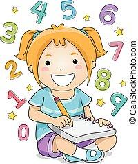 Kid Girl Solving Numbers - Illustration of a Little Girl...
