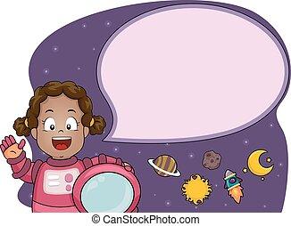 Kid Girl Speech Bubble Astronaut