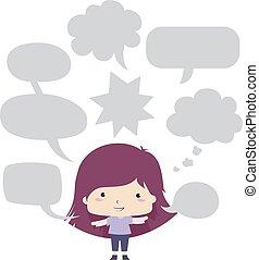 Kid Girl Speech Bubbles Illustration