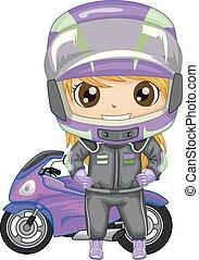 Kid Girl Sports Motor Racing Illustration