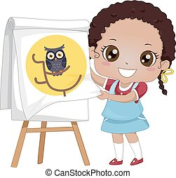 Kid Girl Storytelling Flip Chart Owl