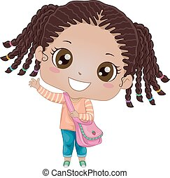 Kid Girl Student Wave - Illustration of an African Girl...