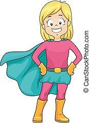 Kid Girl Super Hero Cape - Illustration of a Little Girl...