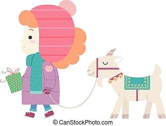 Kid Girl Sweden Yule Goat Gift Illustration