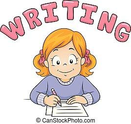 Kid Girl Text Writing Illustration