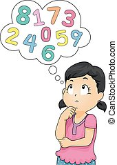 Illustration of a Little Girl Thinking of Numbers