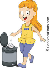 Kid Girl Throwing Garbage in Trash Bin - Illustration of a...