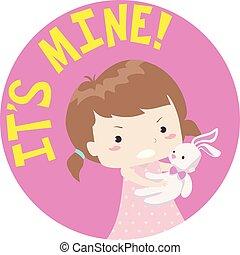 Kid Girl Toddler Selfish Illustration - Colorful Typography ...