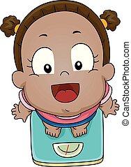 Kid Girl Toddler Weighing Scale Illustration