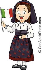 Kid Girl Traditional Costume Italian Flag Illustration