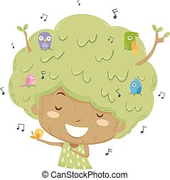 Kid Girl Tree Birds Sing Illustration