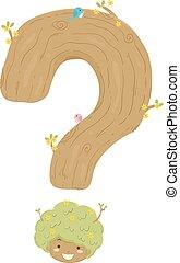 Kid Girl Tree Question Mark Illustration