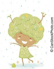 Kid Girl Tree Rain Dance Illustration