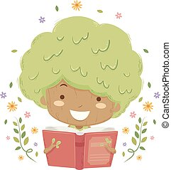 Kid Girl Tree Read Book Illustration