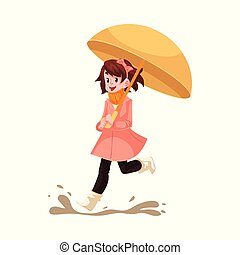 Kid girl under umbrella jumps in puddle in rain smiling and happy isolated on white background.