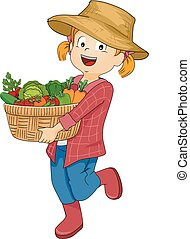 Kid Girl Vegetables Basket Illustration